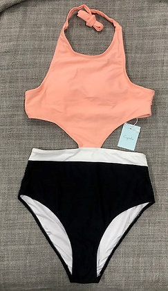 Coral & Black Cut-Out One-Piece Bathing Suits