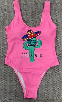 "Pink Cactus ""Cool & Wild"" One-Piece Bathing Suit"