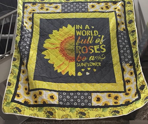 Sunflower Quilted Blanket