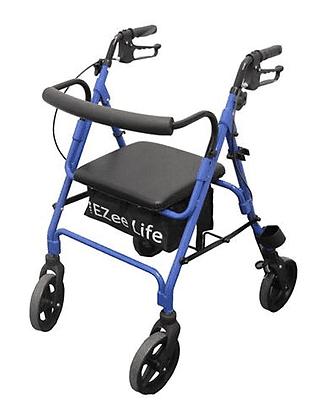 Ezee Life Economy Folding Aluminum Rollator Walker With Cane Holder