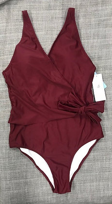 Wine Red Adjustable One-Piece Bathing Suit