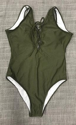 Dark Green Corset Front One-Piece Bathing Suit