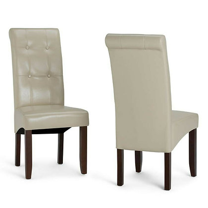 Tufted Satin Cream Dining Chairs