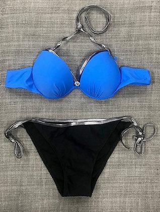 Blue & Black 2-Piece Bikini