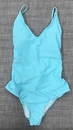 Aqua Blue Open Back One-Piece Bathing Suit