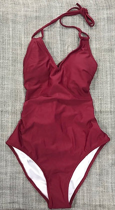 Deep Red Corset Back One-Piece Bathing Suit