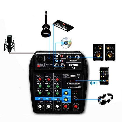 TEYUN A4 Portable Mini 4 Channels Digital Audio Interface Mixer Console