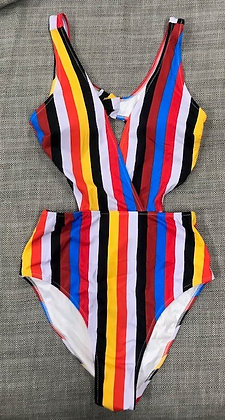 Multi-Color Stripped Peek-A-Boo One-Piece Bathing Suit