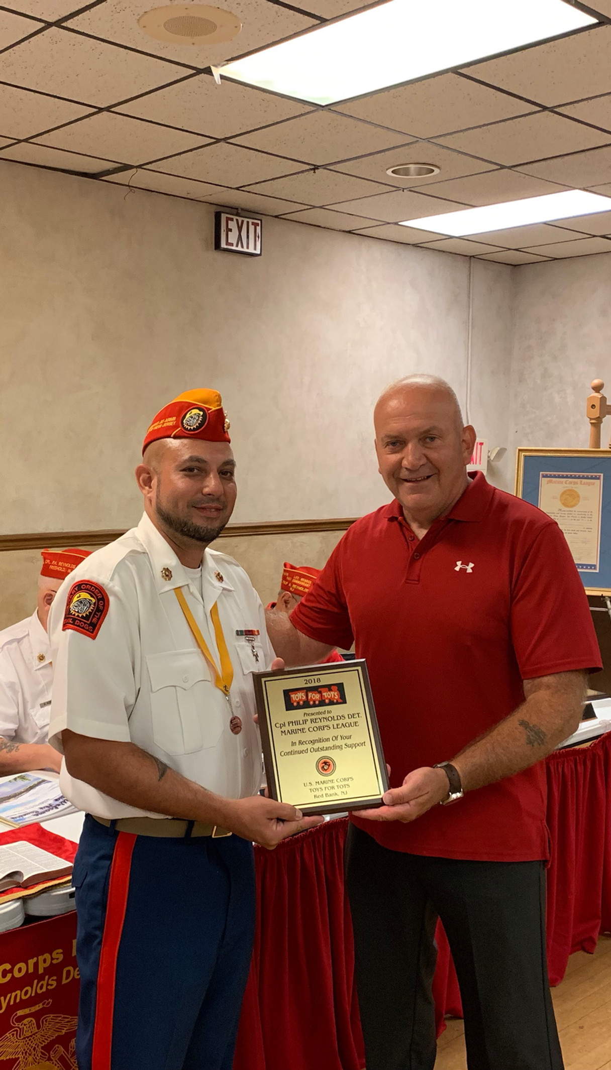 Commandant Zach Delacruz recieves Toys For Tots Award 2019