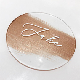 Clear Acrylic Circles with Paintwash