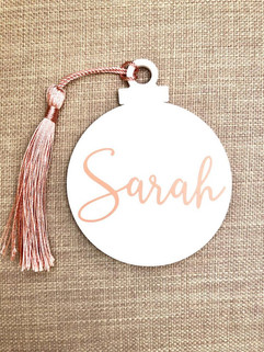 Acrylic Circle tags with Tassel