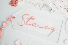 Paintwashed Acrylic tags with Tassels