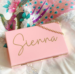 Pink Personalised Acrylic Clutch Bags