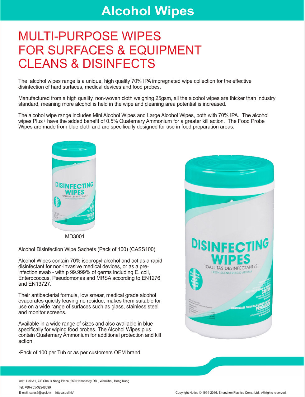 Surface Wipes for Disinfecting Surfaces
