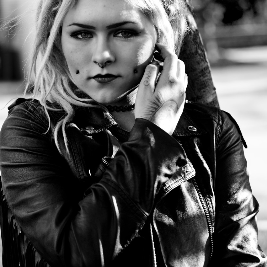 Windsor Photography Woman Dreads Leather Black and White Portrait Piercings