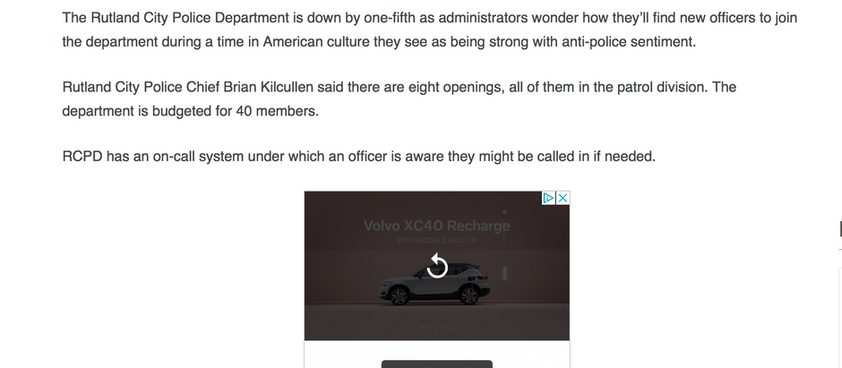 Rutland PD & Vermont State Police Short on Officers - Link behind Rutland Herald Paywall