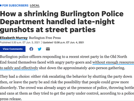 Happening Now: Burlington PD without resources to protect public. Story behind BFP paywall