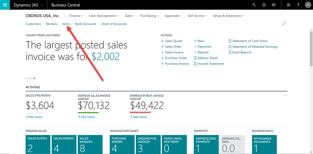 Items - Dynamics 365 Business Central - Memorli Business Solutions