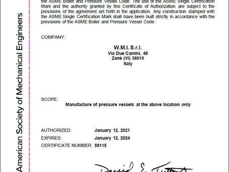W.M.I. Srl ha concluso un lungo percorso ottenendo così la tanto attesa certificazione ASME U-STAMP.