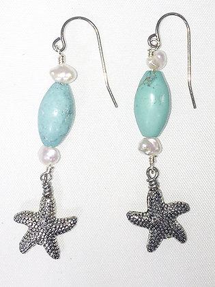 Turquoise,  Starfish Earrings