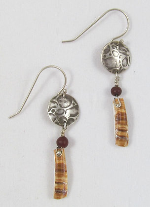 Earrings - textured circle with hanging pearl and textured crescent