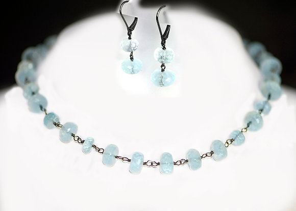 Aquamarine Necklace with Earrings