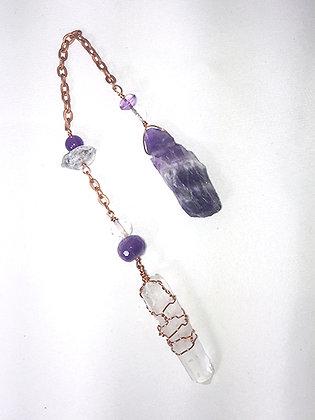 Pendulum-Wrapped Crystal, Clear Quartz, Amethyst