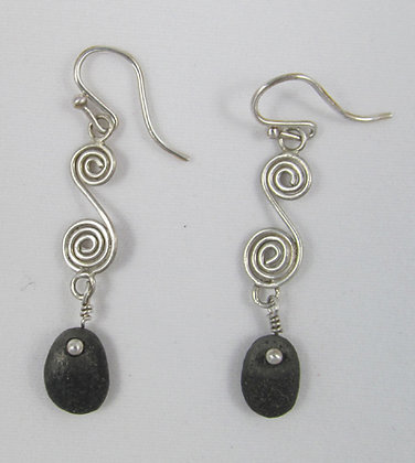 Earrings - coiled wire with a pebble