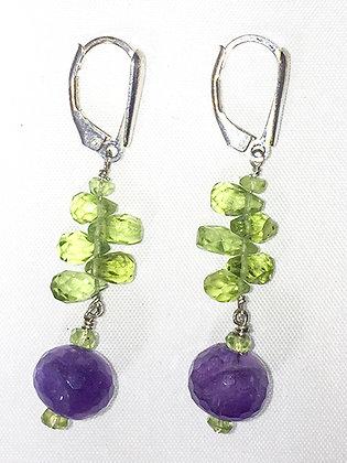 Peridot, Amethyst Earrings