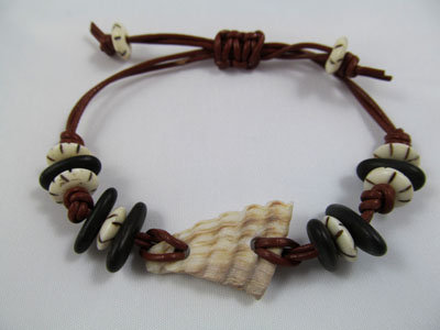 Bracelet - sea shell with pebbles and bone beads