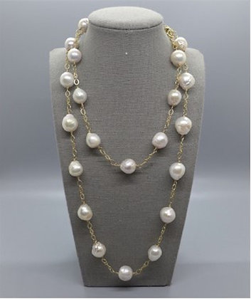 Long White Baroque Pearl & Gold Chain Necklace