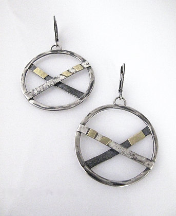 Sterling Silver XO Earrings with 18k Gold Accents