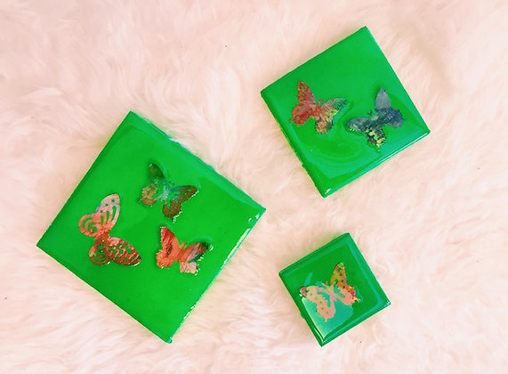 Kaleidoscope Collection Butterfly Trio - Lime Green