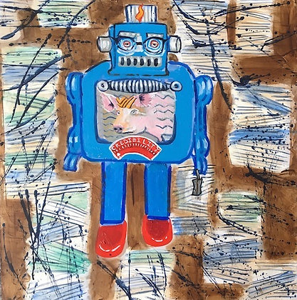 """""""Man With Tiny Suitcase"""" by Anne Skok"""
