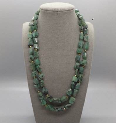 Raw Emerald Double Strand Necklace & Earrings