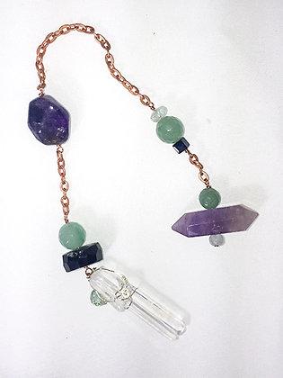 Pendulum-Wrapped Crystal, Aquamarine, Amethyst