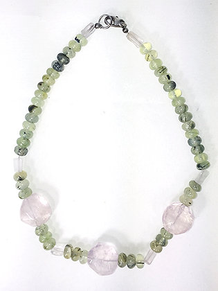 Prehinite, Rose Quartz, SS Necklace