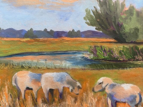 """Sheep at Sunset"" by Linda Faul"