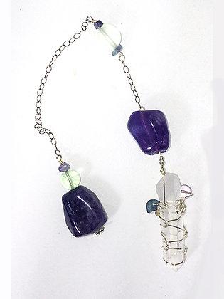 Pendulum-Wrapped Crystal, Flourite Amethyst