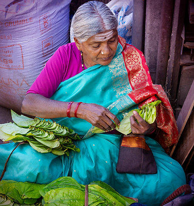 Selling Paan Leaves in an Indian Market