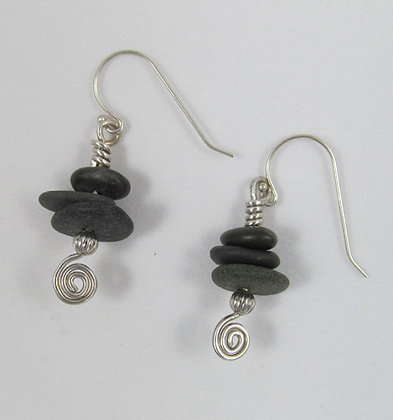 Earrings - three pebbles