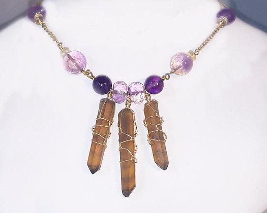 Necklace - Citrine, Amethyst, Ametrine