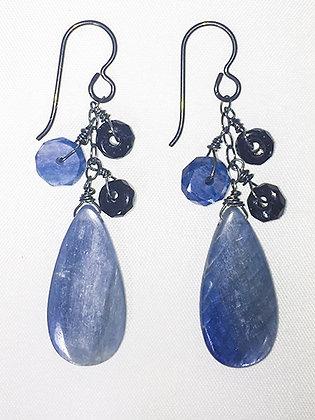 Kyanite, Tourmaline Earrings, dangles