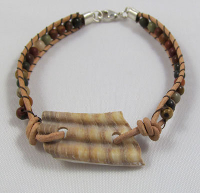Bracelet - sea shell with jasper beads