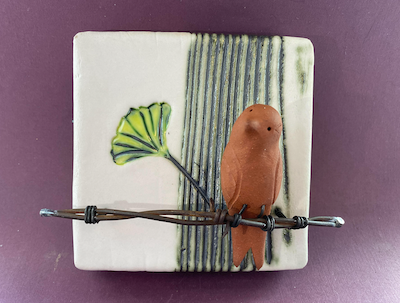 """""""Clay Tile With Bird"""" by Arabella Tattersall"""