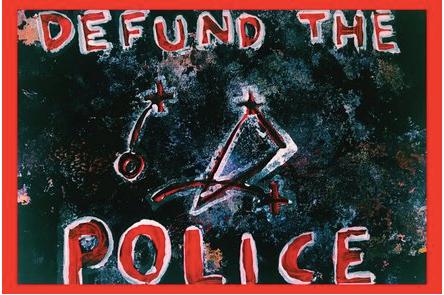 """Defund the Police"" Postcard by Khiri Lee"