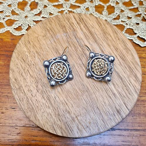 Square Line Celtic Design Earrings