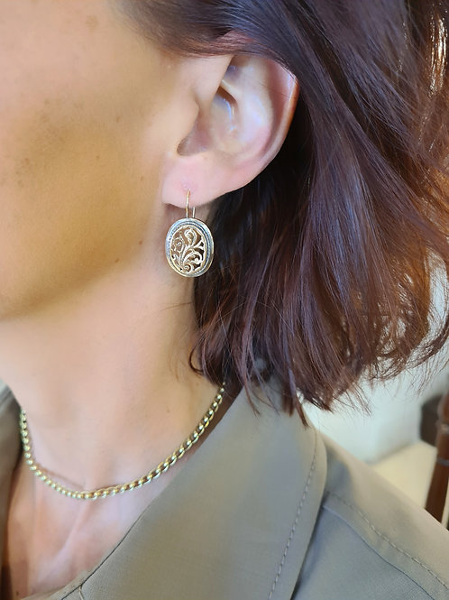 An Oval Silver & gold Earrings