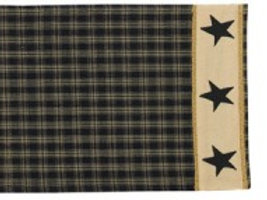"Sturbridge Star Table Runner - 36""L - Black #314-12R"