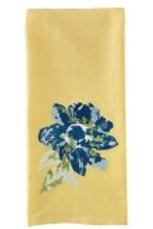 Blue Embroidered Flower Dishtowel #73-108
